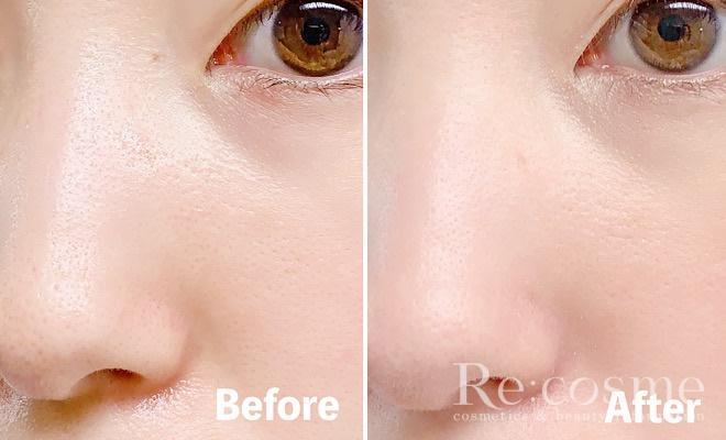洗顔前後の肌を比較